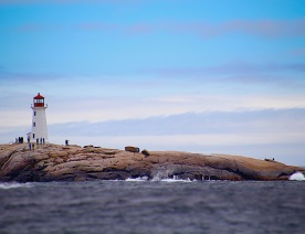 Lighthouse and tourists, Peggy's Cove, N.S., June 2015